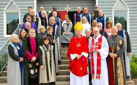 Vergers from the Diocese of Atlanta pause for a photo at their June 28 summer meeting in Cumming with Bishop Keith Whitmore and the Rev. Keith Oglesby, rector, Church of the Holy Spirit.