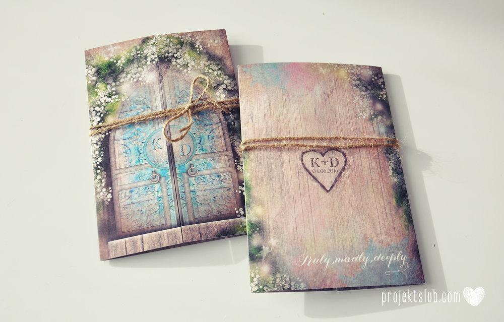 Zaproszenie ślubne zaczarowany las z motywem konwali w stylu rustykalnym z akcentami turkusu i rysunkiem drewna.JPG