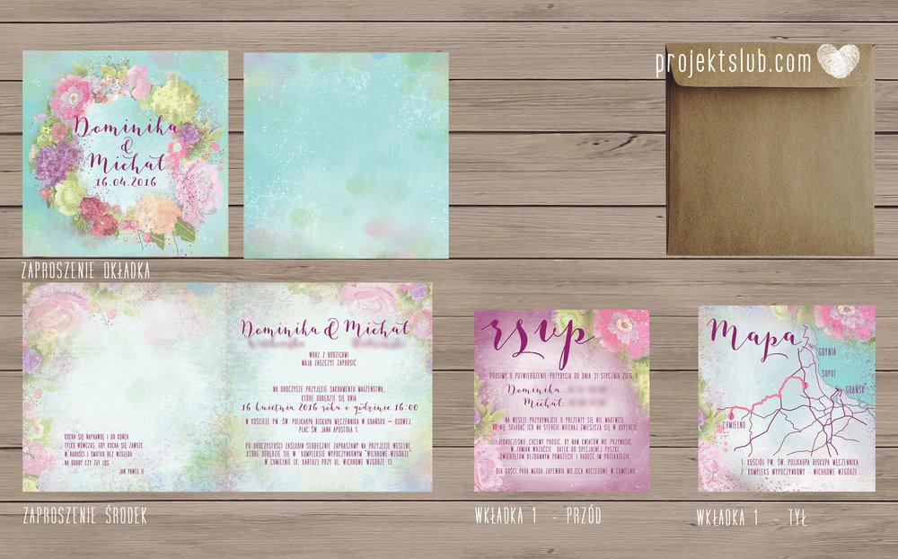 Zaproszenia ślubne oryginalne BOHO WIANEK vintage błękit pastele kwiaty romantyczne rustykalne oryginalny Projekt Ślub mięta.jpg