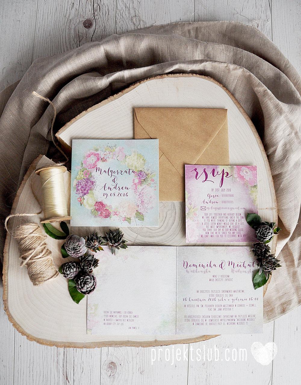 Zaproszenia ślubne oryginalne BOHO WIANEK vintage błękit pastele kwiaty romantyczne rustykalne oryginalny Projekt Ślub mięta (3).jpg