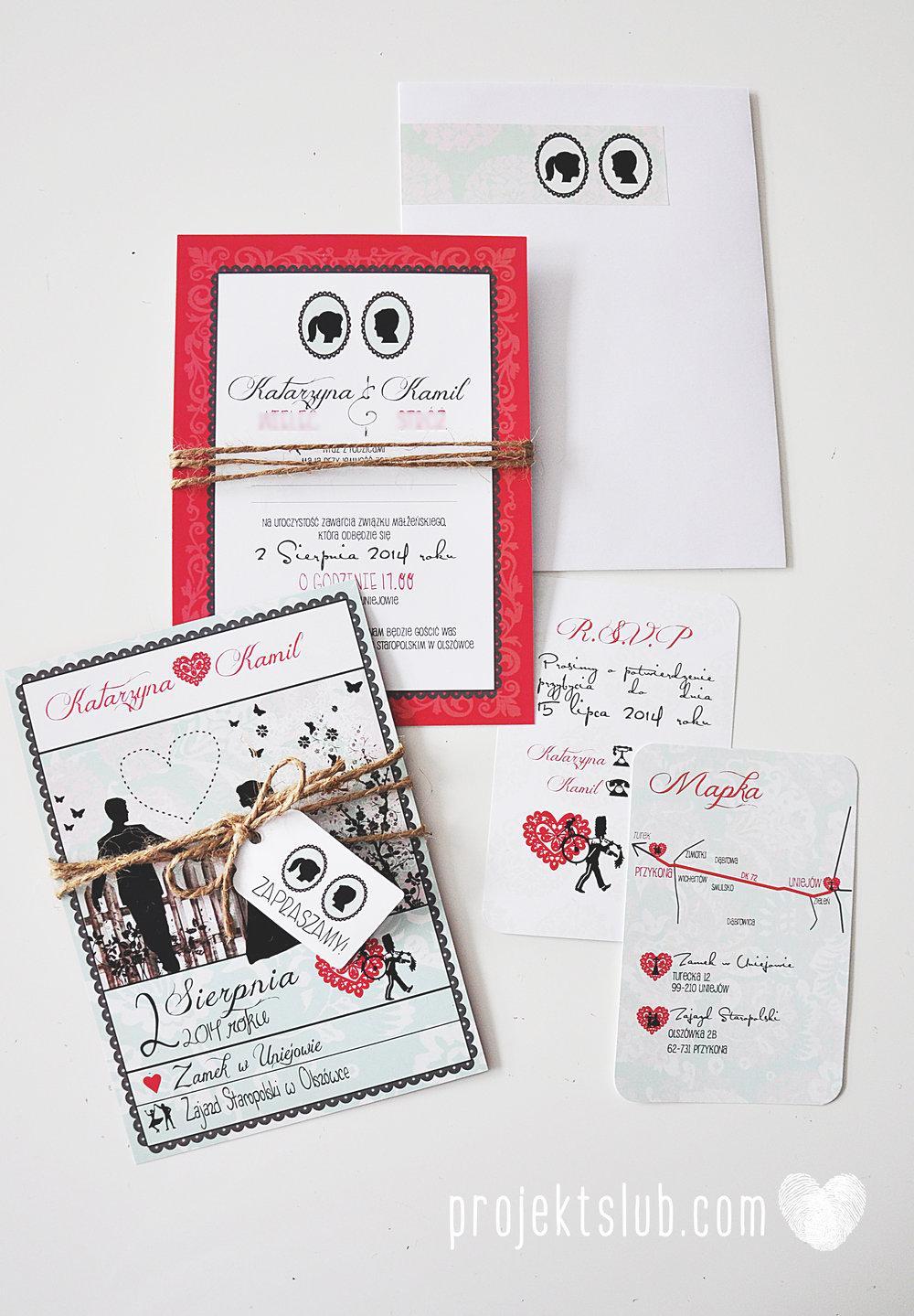 W pudrowym gaju rustykalne zaproszenie ślubne ze sznurkiem karteczka mięta malina Projekt Ślub (4).jpg