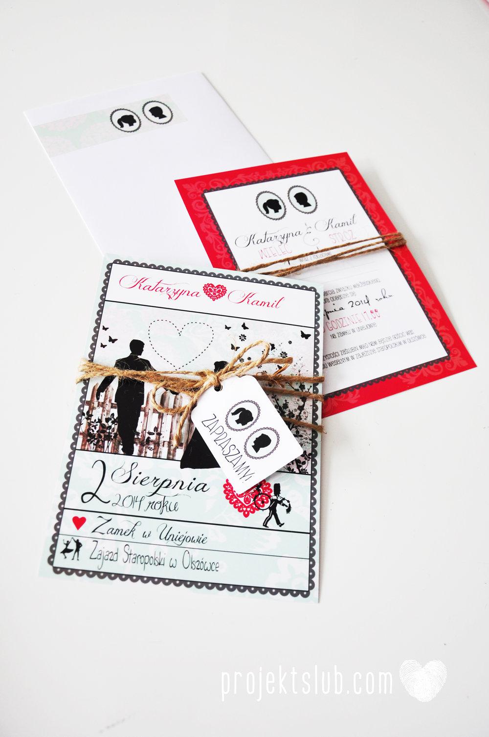 W pudrowym gaju rustykalne zaproszenie ślubne ze sznurkiem karteczka mięta malina Projekt Ślub (7).jpg