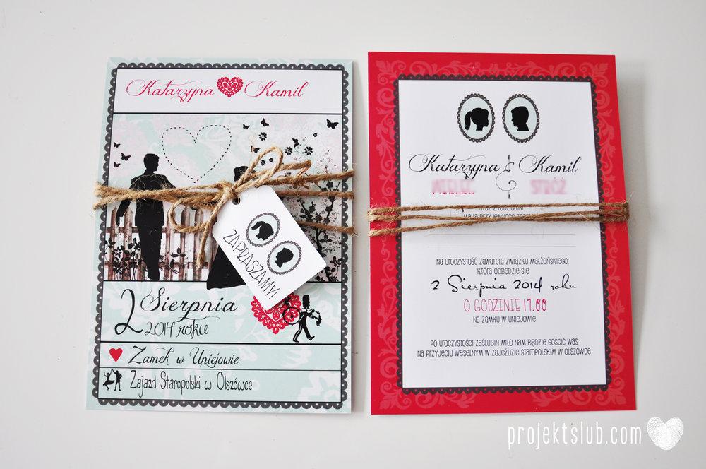 W pudrowym gaju rustykalne zaproszenie ślubne ze sznurkiem karteczka mięta malina Projekt Ślub (6).jpg
