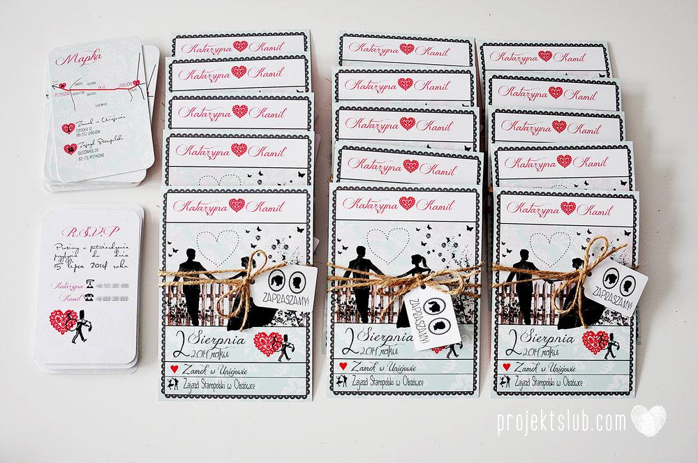 W pudrowym gaju rustykalne zaproszenie ślubne ze sznurkiem karteczka mięta malina Projekt Ślub (1).jpg