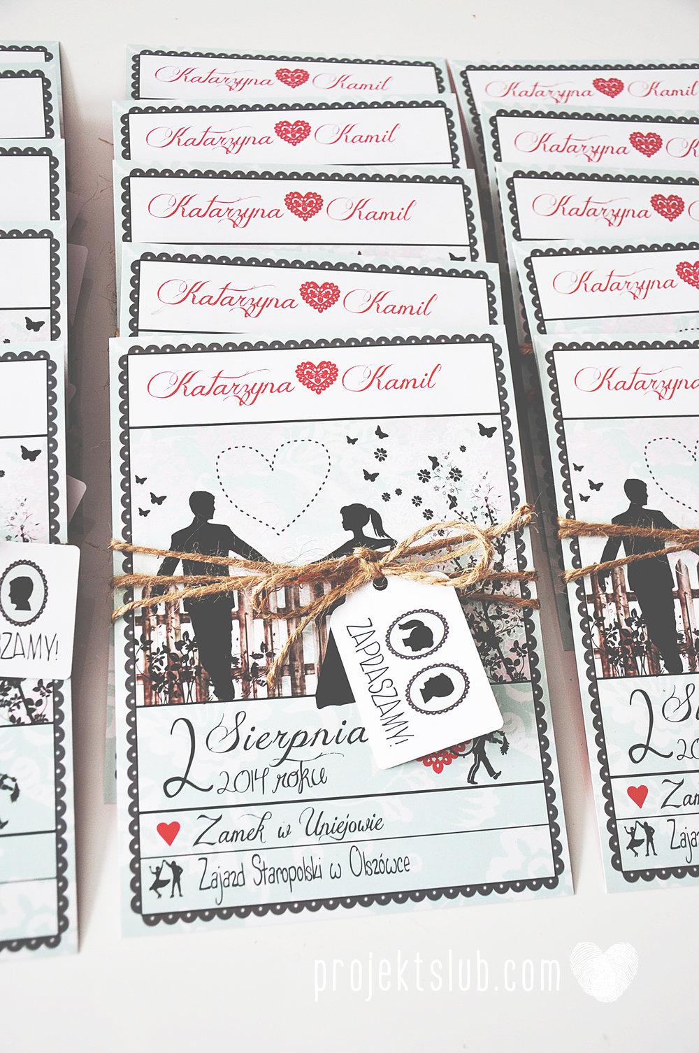 W pudrowym gaju rustykalne zaproszenie ślubne ze sznurkiem karteczka mięta malina Projekt Ślub (2).jpg