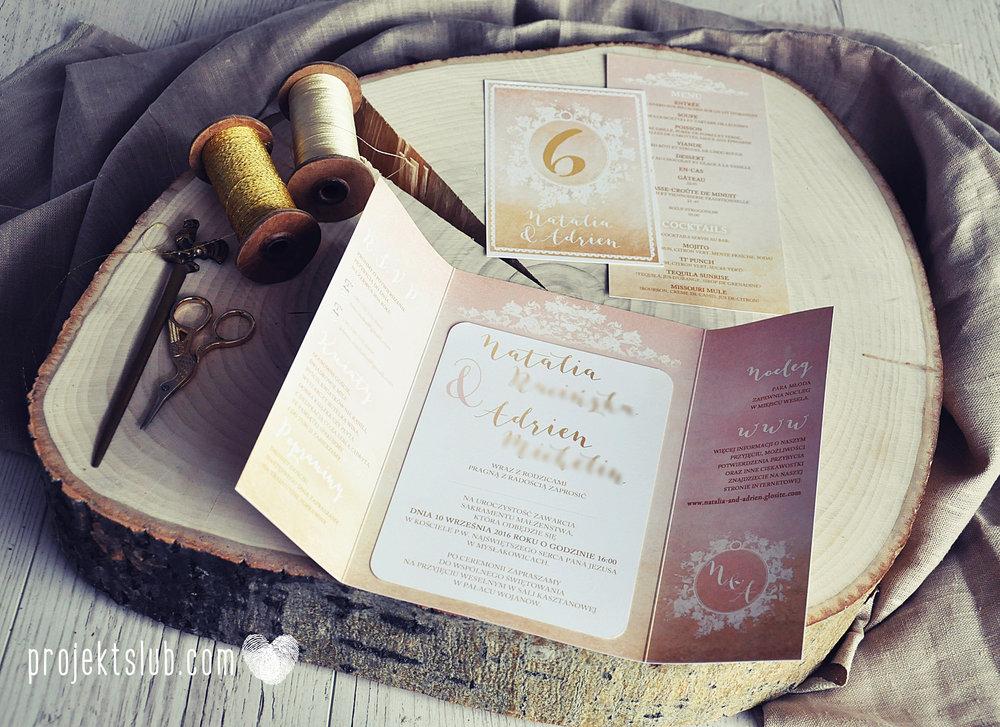 Zaproszenia ślubne rustykalne oryginalne wyjątkowe rustic eleganckie złoty róż ornamenty Projekt Ślub (35).jpg