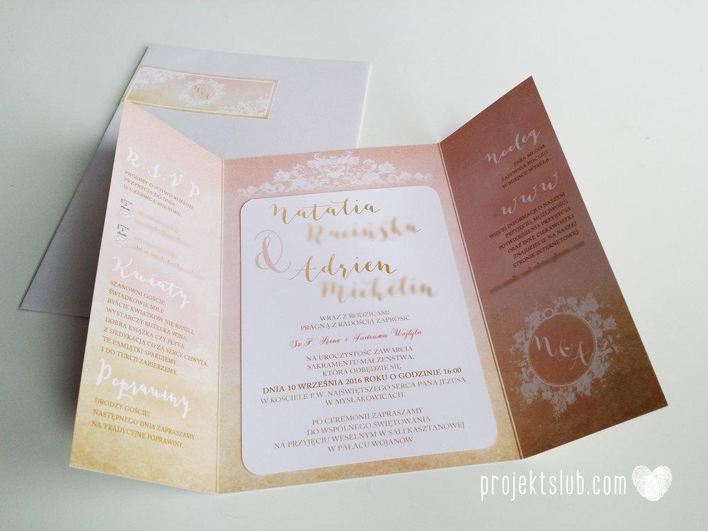 Zaproszenia ślubne rustykalne oryginalne wyjątkowe rustic eleganckie złoty róż ornamenty Projekt Ślub (40).jpg