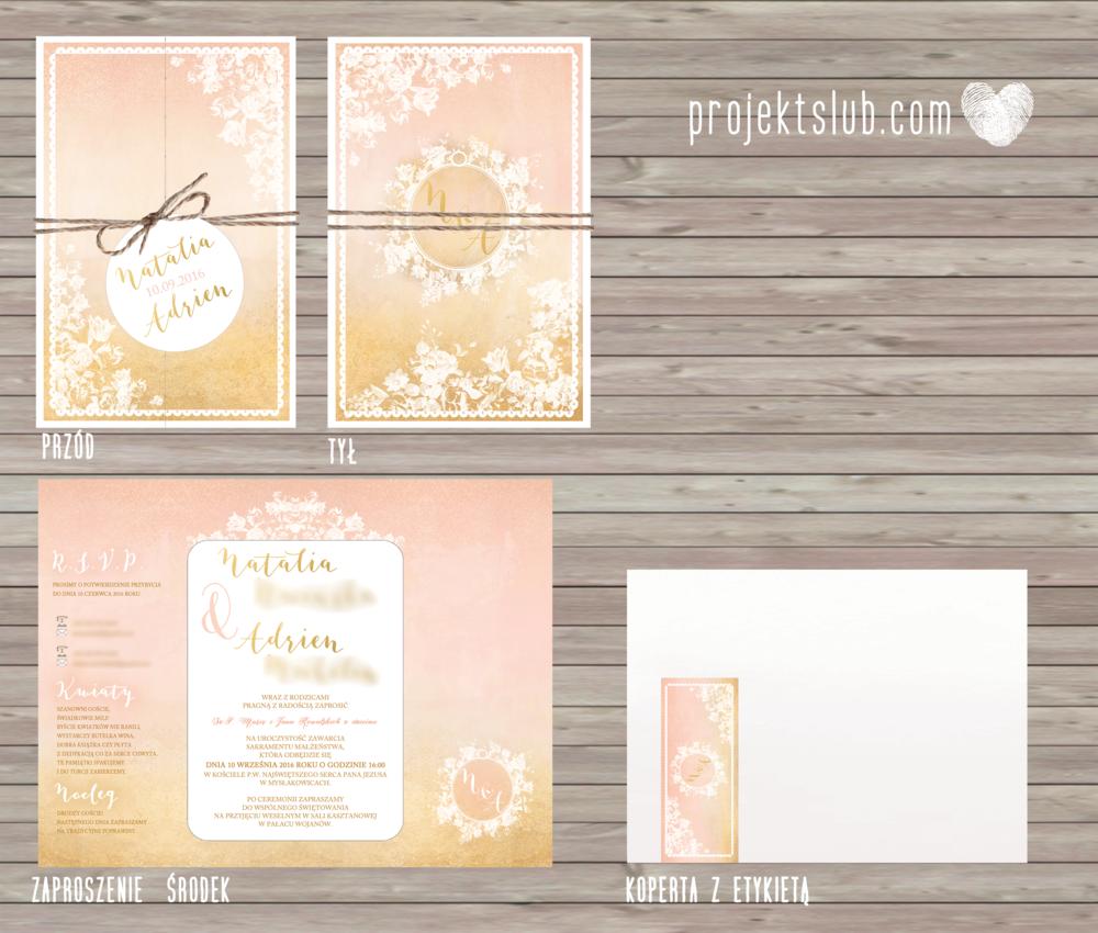 Zaproszenia ślubne rustykalne oryginalne wyjątkowe rustic eleganckie złoty róż ornamenty Projekt Ślub (1).png
