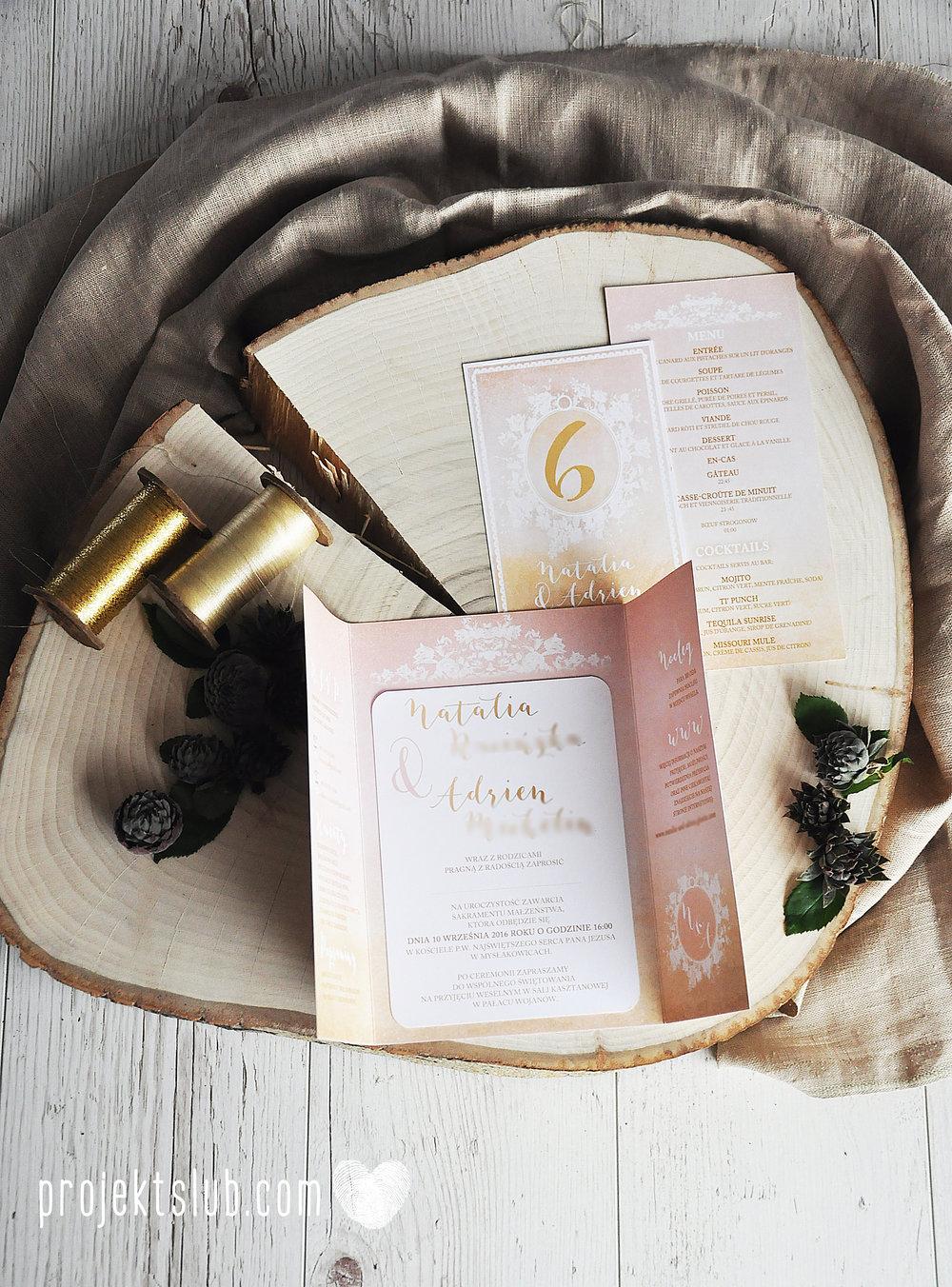 Zaproszenia ślubne rustykalne oryginalne wyjątkowe rustic eleganckie złoty róż ornamenty Projekt Ślub (25).jpg