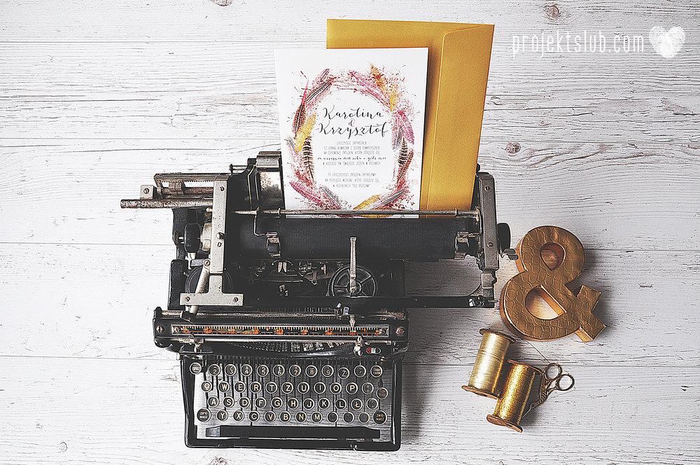 Zaproszenie ślubne BOHO PIÓRA rustykalne wesele złoto brąz bohema indiańskie pióra Projekt Ślub 2 copy (1).jpg