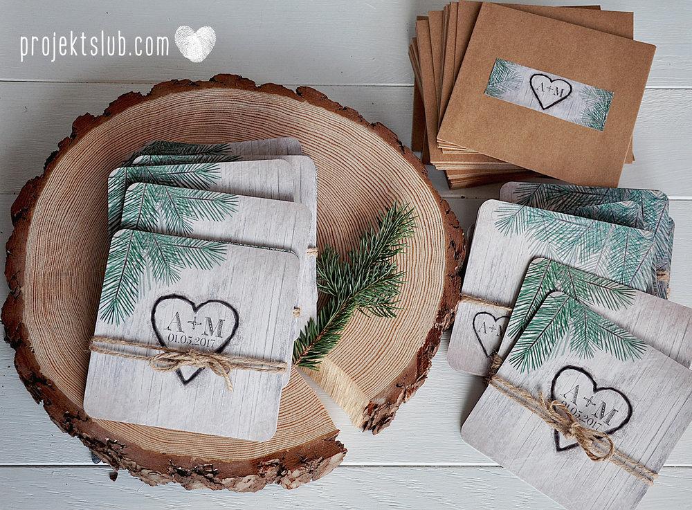 Zaproszenia ślubne oryginalne BOHO WOODLOVE vintage las świerk drewno drzewo kora eko rustykalne oryginalny craft naturalne Projekt Ślub (1).jpg