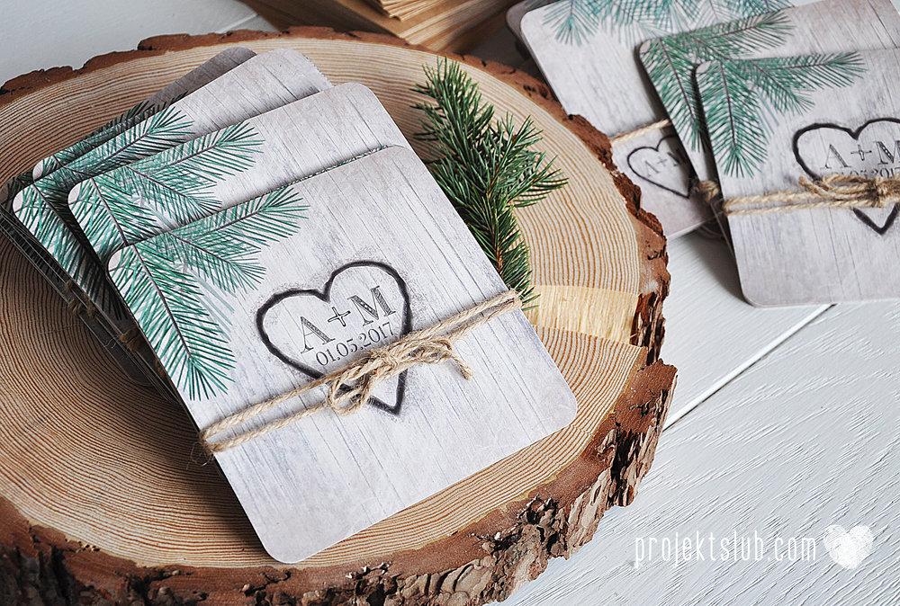 Zaproszenia ślubne oryginalne BOHO WOODLOVE vintage las świerk drewno drzewo kora eko rustykalne oryginalny craft naturalne Projekt Ślub (5).jpg