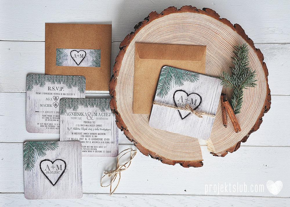 Zaproszenia ślubne oryginalne BOHO WOODLOVE vintage las świerk drewno drzewo kora eko rustykalne oryginalny craft naturalne Projekt Ślub (7).jpg