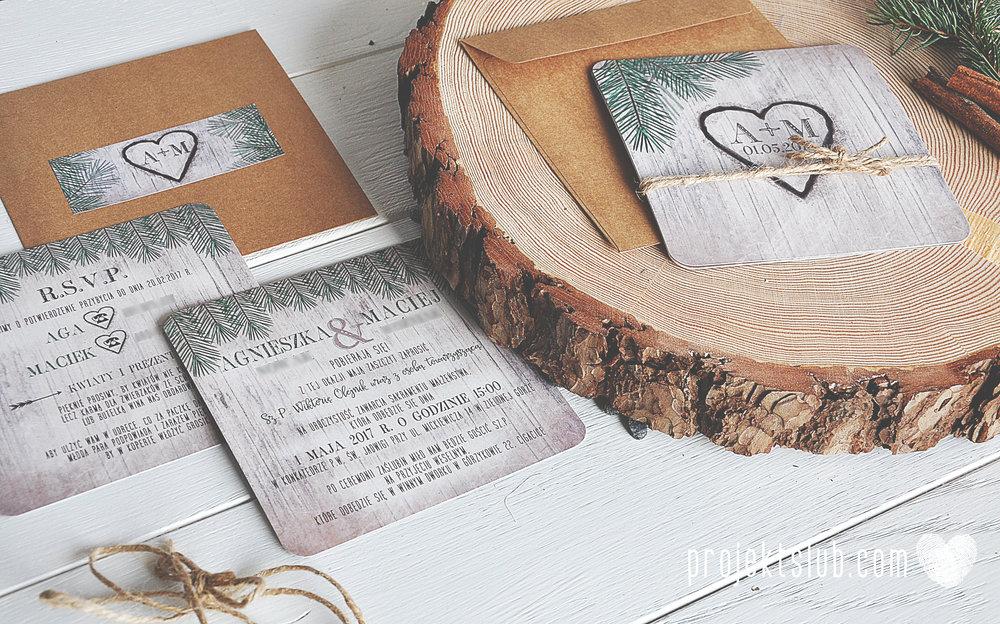 Zaproszenia ślubne oryginalne BOHO WOODLOVE vintage las świerk drewno drzewo kora eko rustykalne oryginalny craft naturalne Projekt Ślub (11).jpg