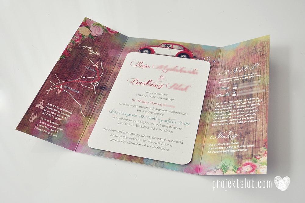 Zaproszenia Ślubne Boho Rustic Eko Oryginalne Wyjątkowe Rustykalne Sznurek Drewno Kwiaty Czerwony Garbus Projekt Ślub (4).jpg