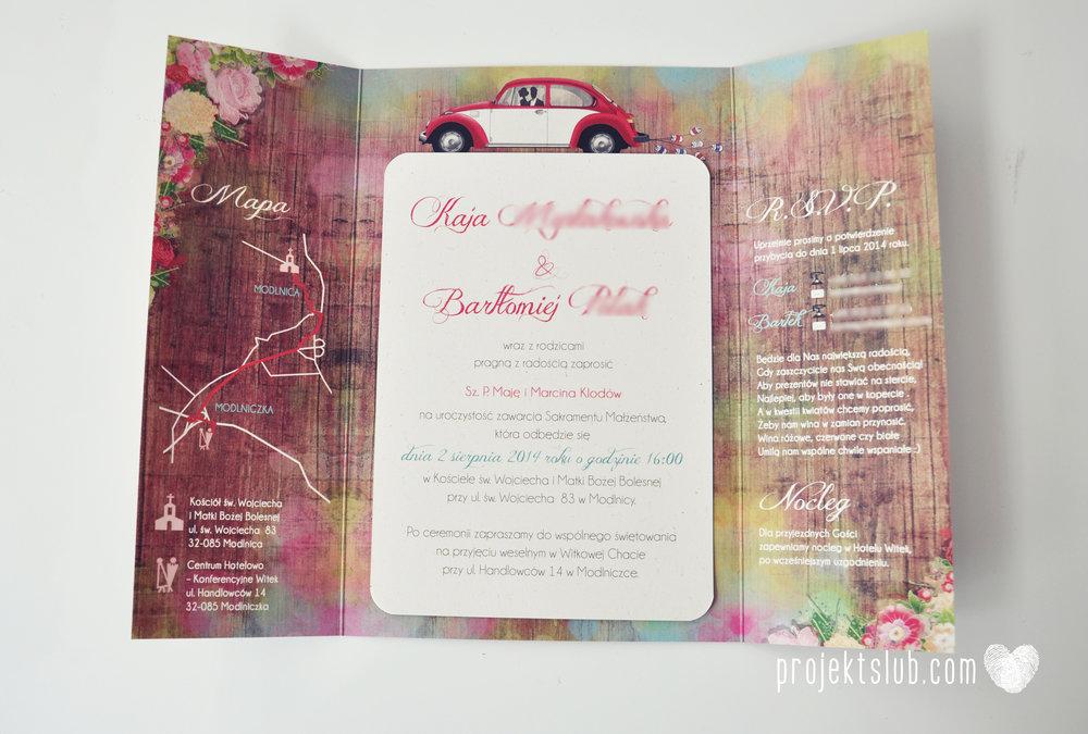 Zaproszenia Ślubne Boho Rustic Eko Oryginalne Wyjątkowe Rustykalne Sznurek Drewno Kwiaty Czerwony Garbus Projekt Ślub (5).jpg