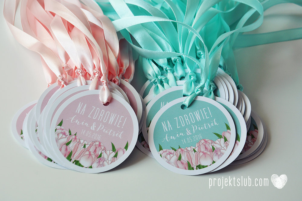 Zaproszenia  ślubne miętowe tulipany kwiaty ze wstążką wyjątkowe oryginalne najpiękniejsza papeteria ślubna mięta pudrowy róż Projekt Ślub (11).jpg