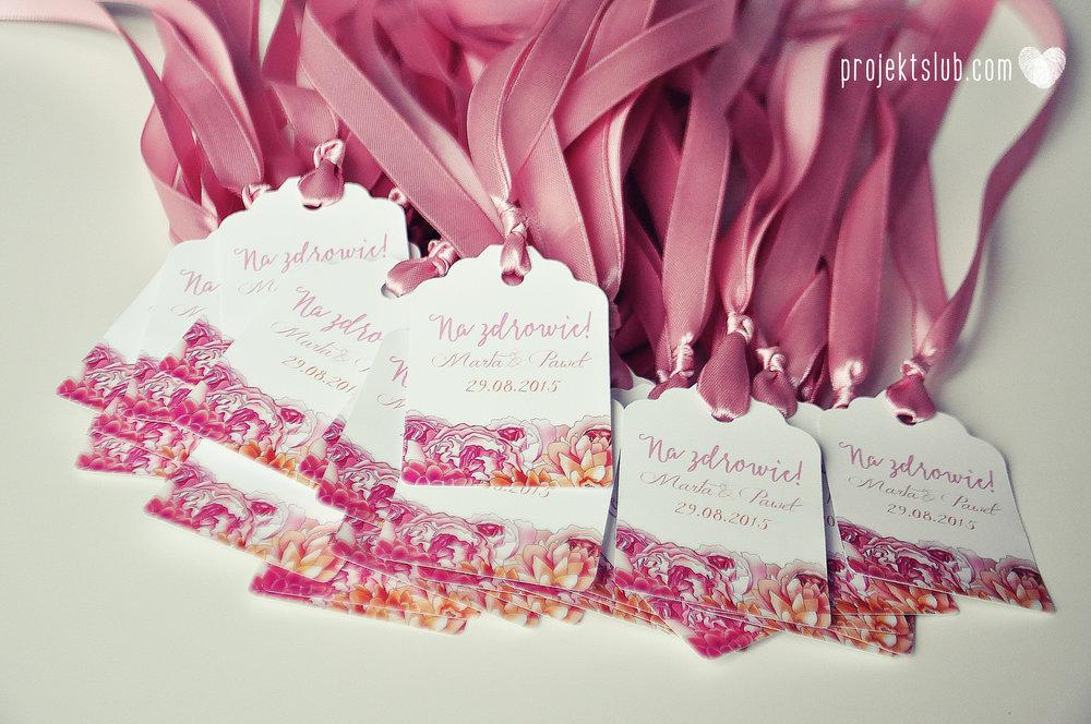 Zaproszenia ślubne z motywem kwiatów eleganckie z kwiatami fuksja róż pomarańcz kwiaty Projekt Ślub (18).JPG
