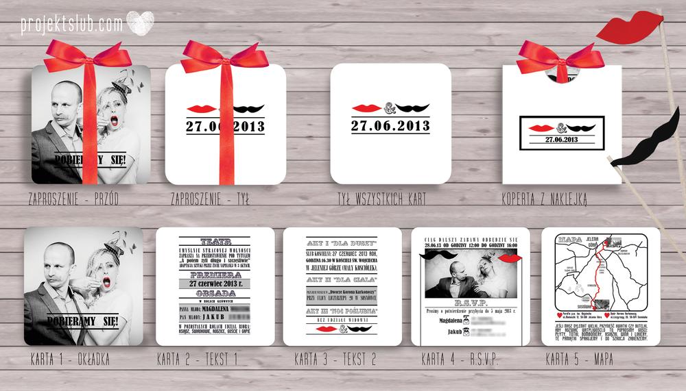 zaproszenia-ślubne-nowoczesne-retro-czerwień-czerń-biel-eleganckie-zaproszenia-ze-wstążką-usta-i-wąsy-2-projekt-ślub.png
