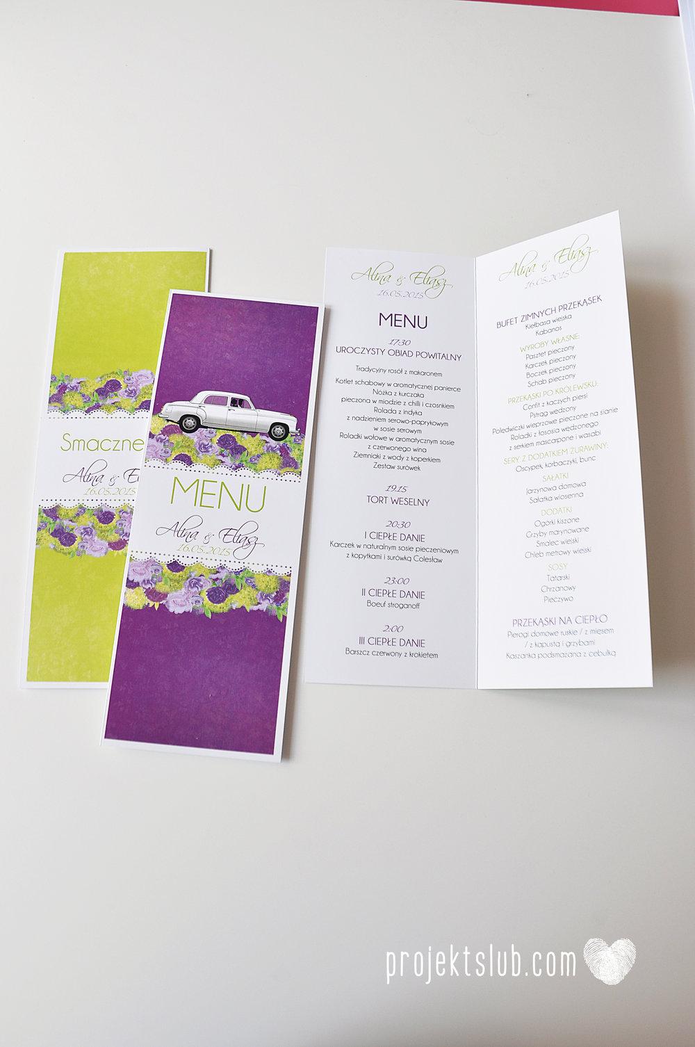 zaproszenia-ślubne-eleganckie-glamour-zaproszenia-z-motywem-auta-samochód-ślubny-mercedes-kwiaty-koronka-biel-fiolet-zieleń-projekt-ślub  (4).JPG