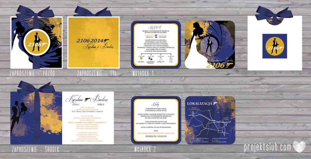 eleganckie zaproszenie ślubne james bond granat żółty agent 007 filmowy  ślub projekt ślub (1).png
