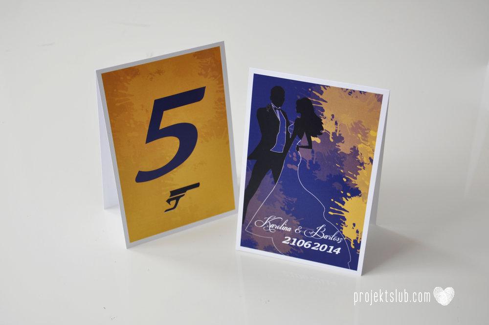 eleganckie zaproszenie ślubne james bond granat żółty agent 007 filmowy  ślub projekt ślub (7).JPG
