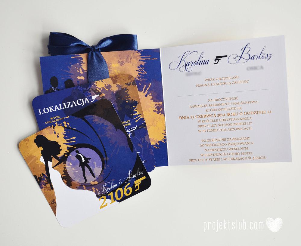 eleganckie zaproszenie ślubne james bond granat żółty agent 007 filmowy  ślub projekt ślub (14).jpg