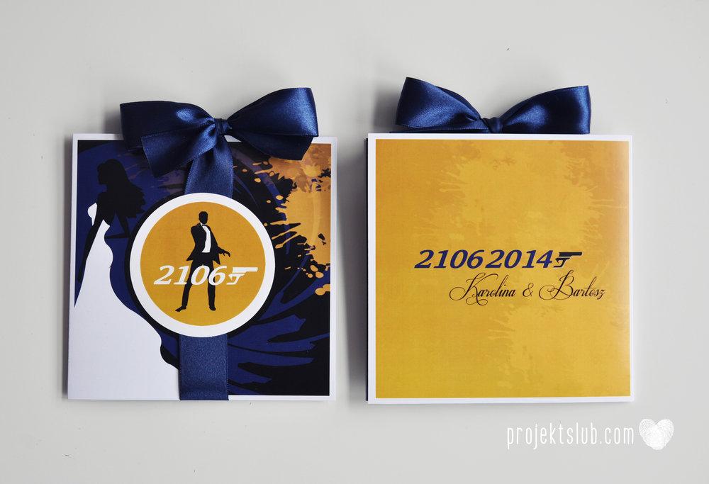 eleganckie zaproszenie ślubne james bond granat żółty agent 007 filmowy  ślub projekt ślub (13).jpg