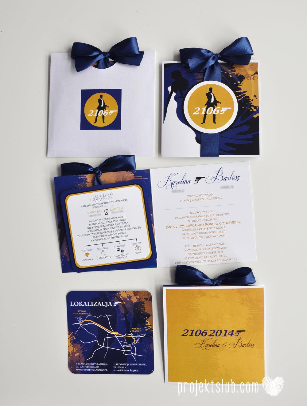 eleganckie zaproszenie ślubne james bond granat żółty agent 007 filmowy  ślub projekt ślub (20).jpg