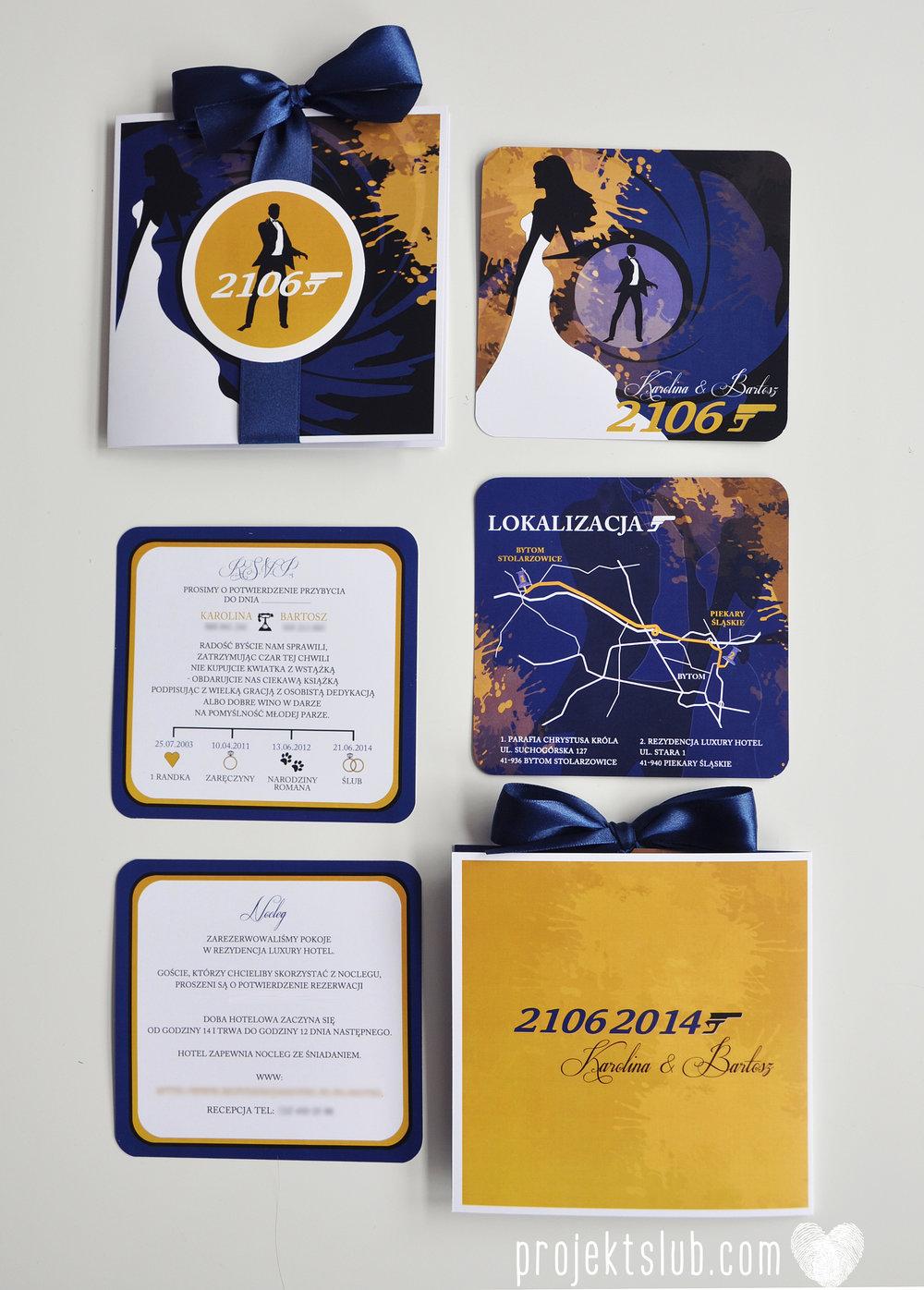 eleganckie zaproszenie ślubne james bond granat żółty agent 007 filmowy  ślub projekt ślub (17).jpg