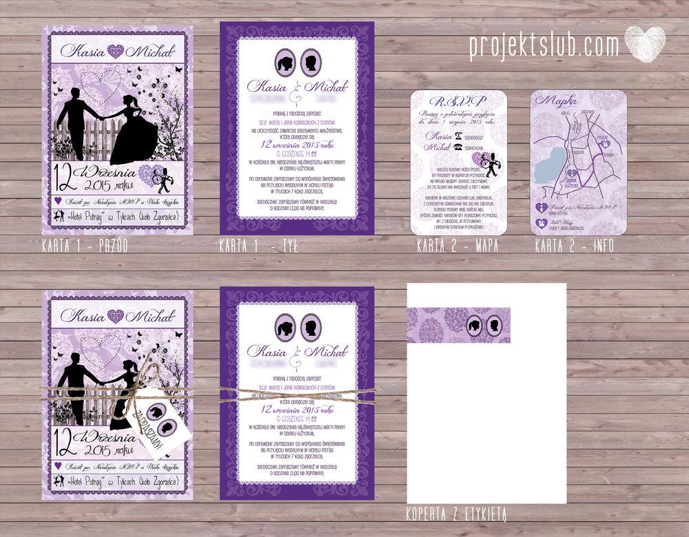 W pudrowym gaju rustykalne zaproszenie ślubne ze sznurkiem karteczka fiolet Projekt Ślub (10).jpg