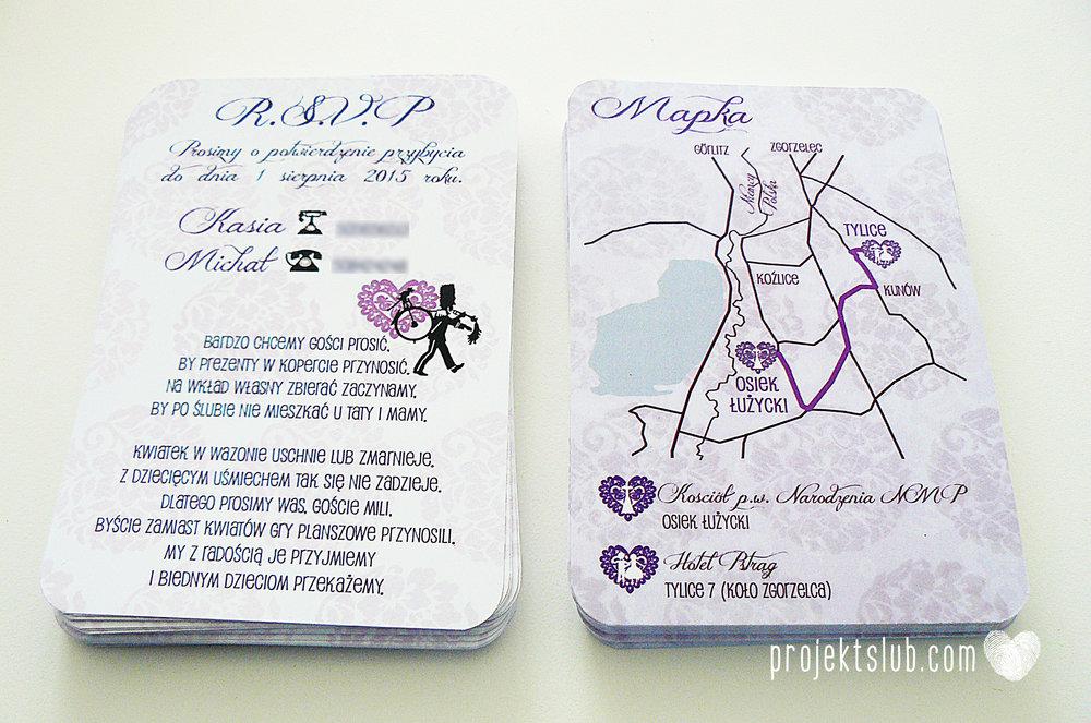 W pudrowym gaju rustykalne zaproszenie ślubne ze sznurkiem karteczka fiolet Projekt Ślub (5).jpg