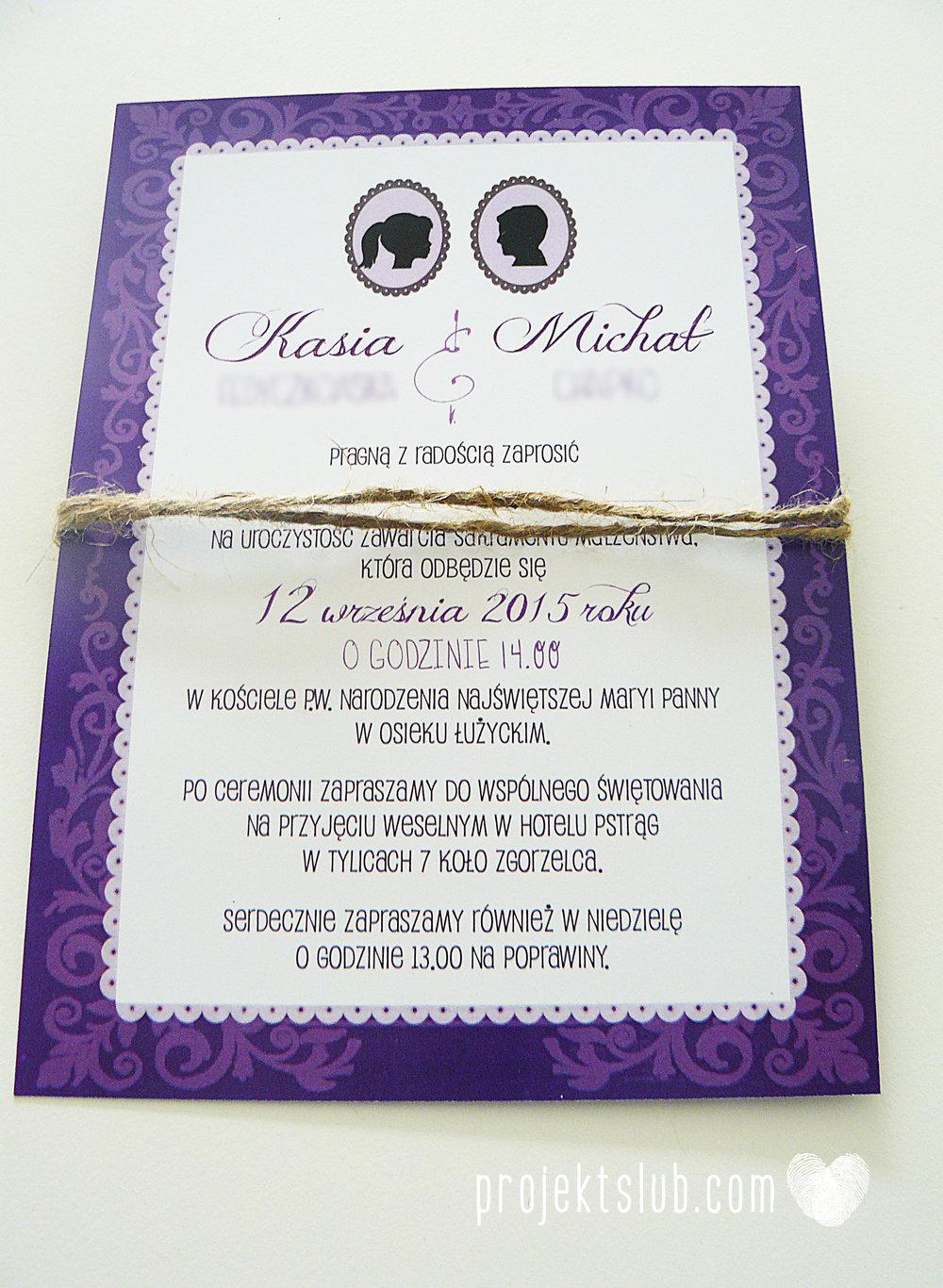 W pudrowym gaju rustykalne zaproszenie ślubne ze sznurkiem karteczka fiolet Projekt Ślub (7).jpg