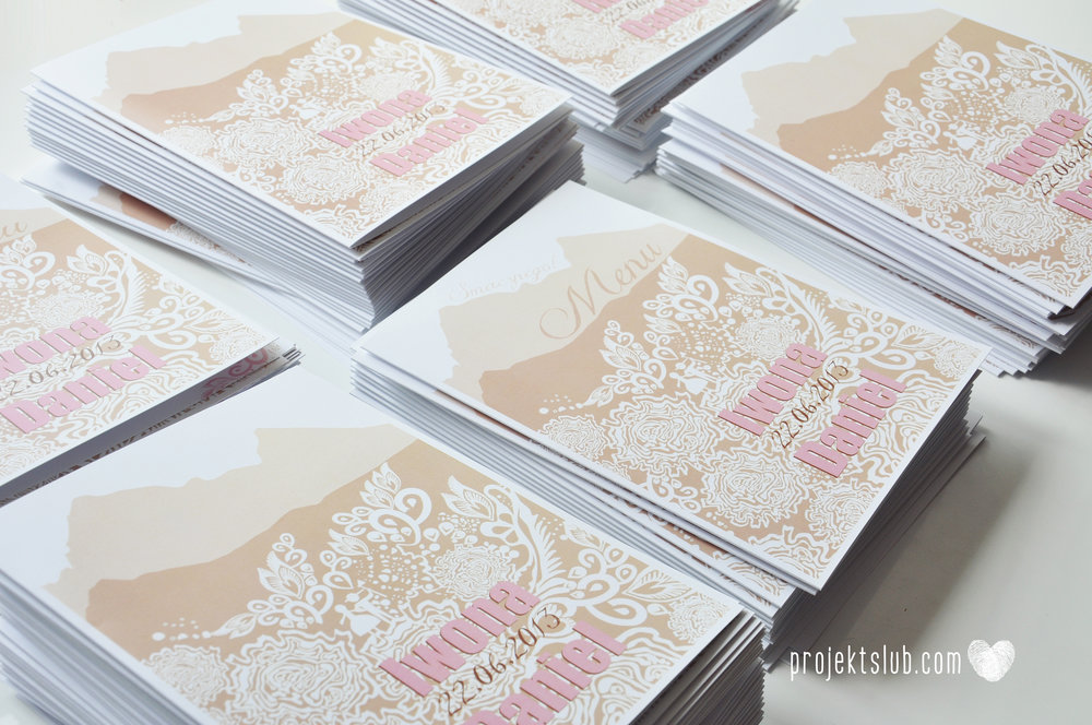 zaproszenia ślubne góralskie podhale koronka goral i goralka zaproszenie góry projekt ślub pudrowy róż brąz (22).JPG