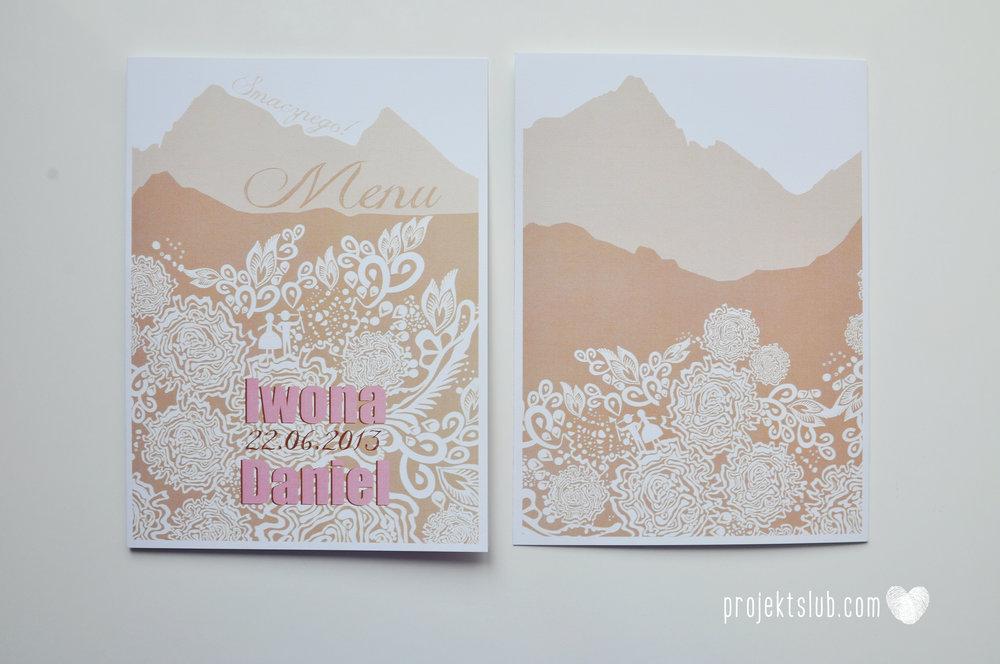 zaproszenia ślubne góralskie podhale koronka goral i goralka zaproszenie góry projekt ślub pudrowy róż brąz (24).JPG