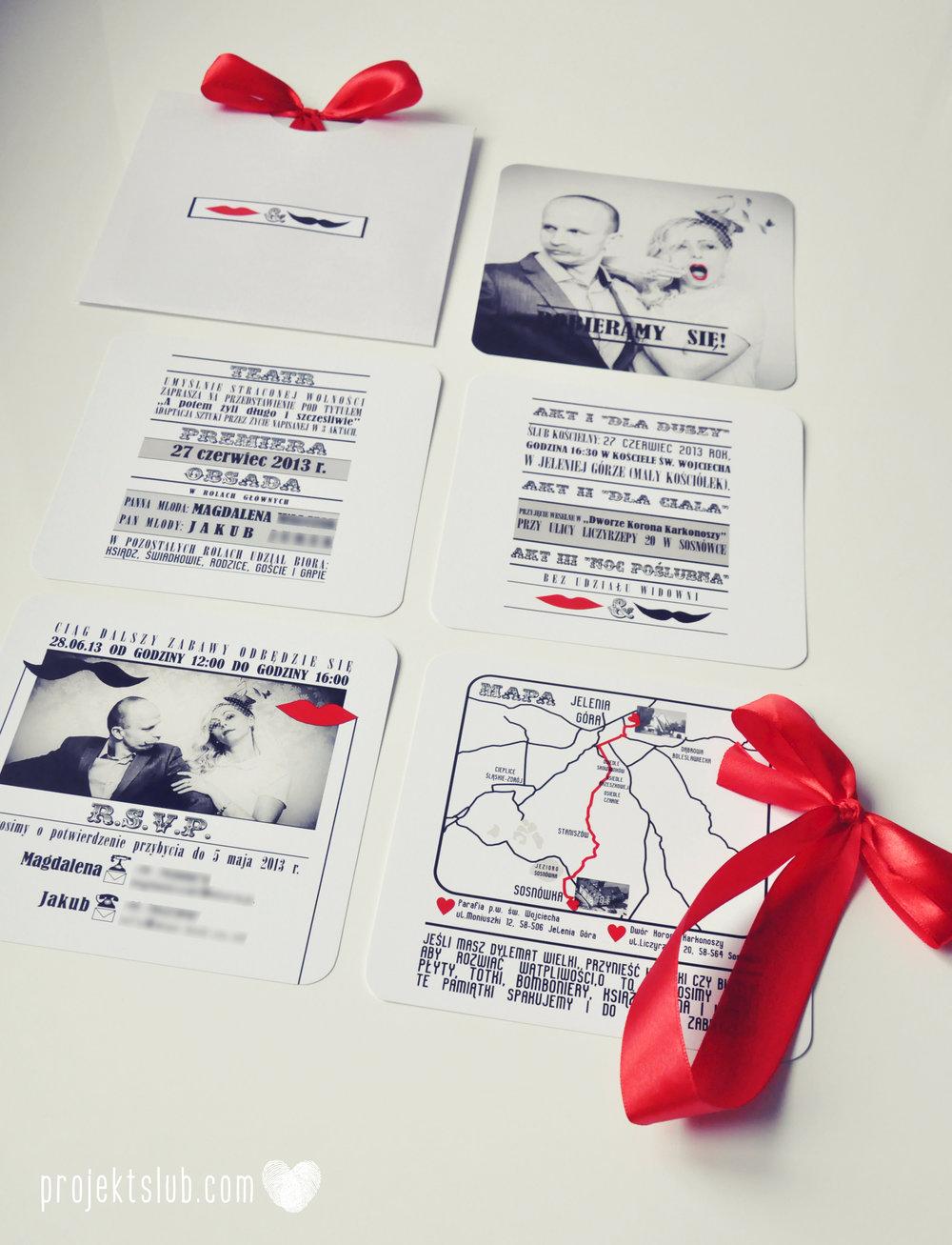 Oryginalne zaproszenia ślubne ze zdjęciem motyw przewodni usta i wąsy czerwona wstążka czarno białe nowoczesne retro projekt ślub (20).JPG