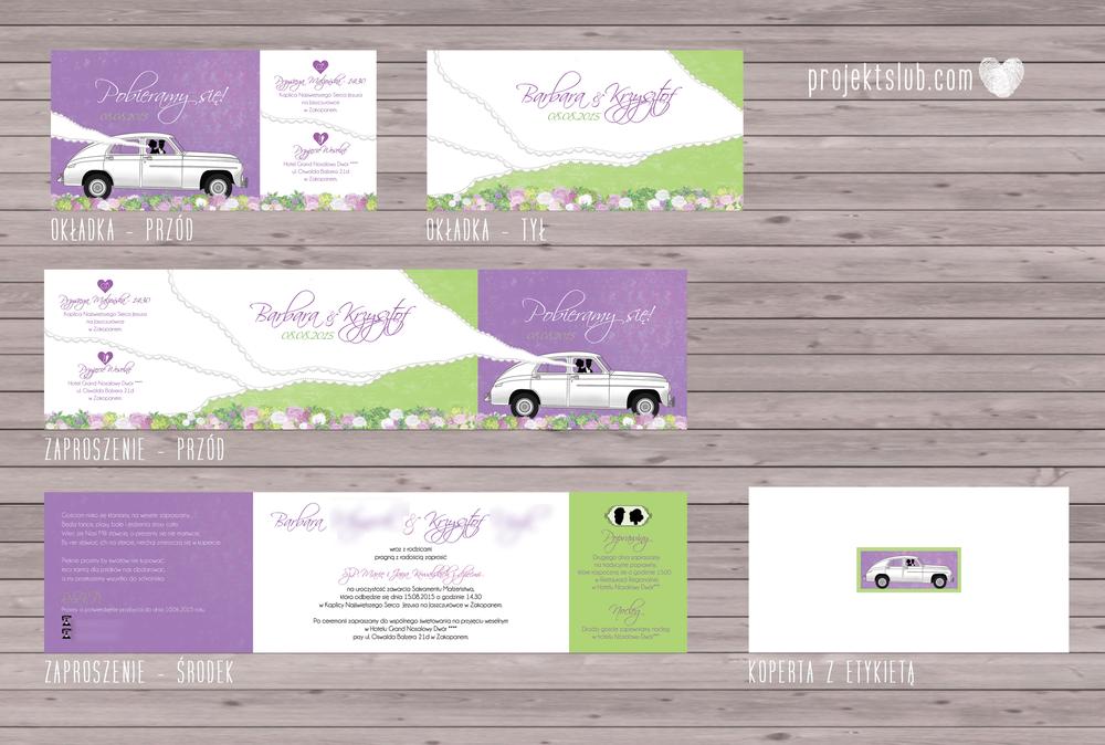 zaproszenia-ślubne-eleganckie-glamour-zaproszenia-z-motywem-auta-samochód-ślubny-kwiaty-koronka-biel-fiolet-zieleń-projekt-ślub.png