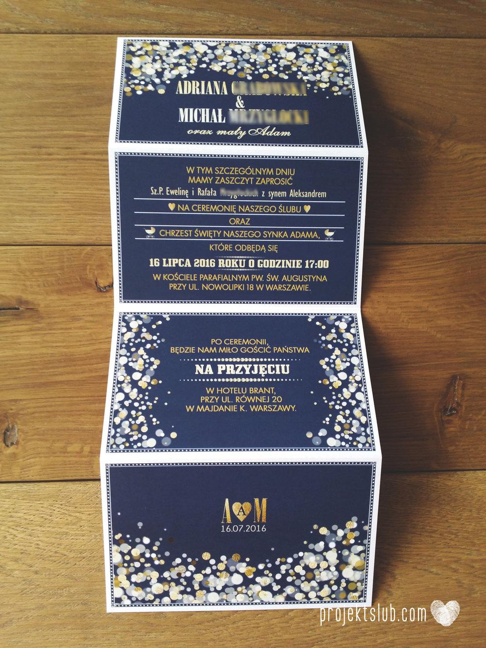 Zaproszenia na ślub i chrzciny projekt indywidualny granatowe elegancka papeteria harmonijka konfetti glamour Projekt Ślub (4).jpg