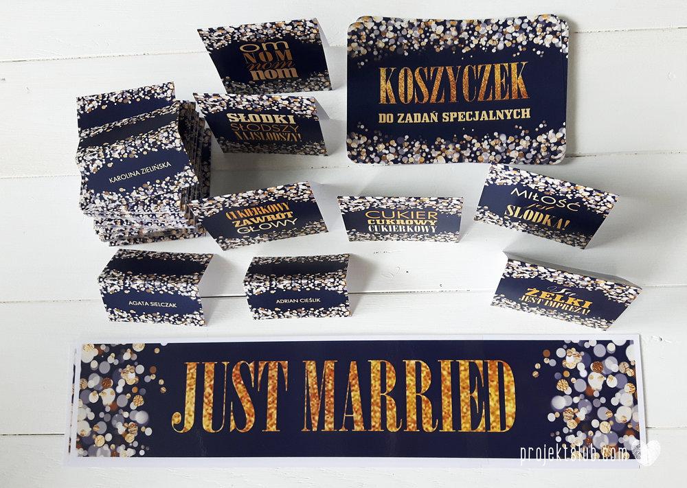 Zaproszenia na ślub i chrzciny projekt indywidualny granatowe elegancka papeteria harmonijka konfetti glamour Projekt Ślub (6).jpg