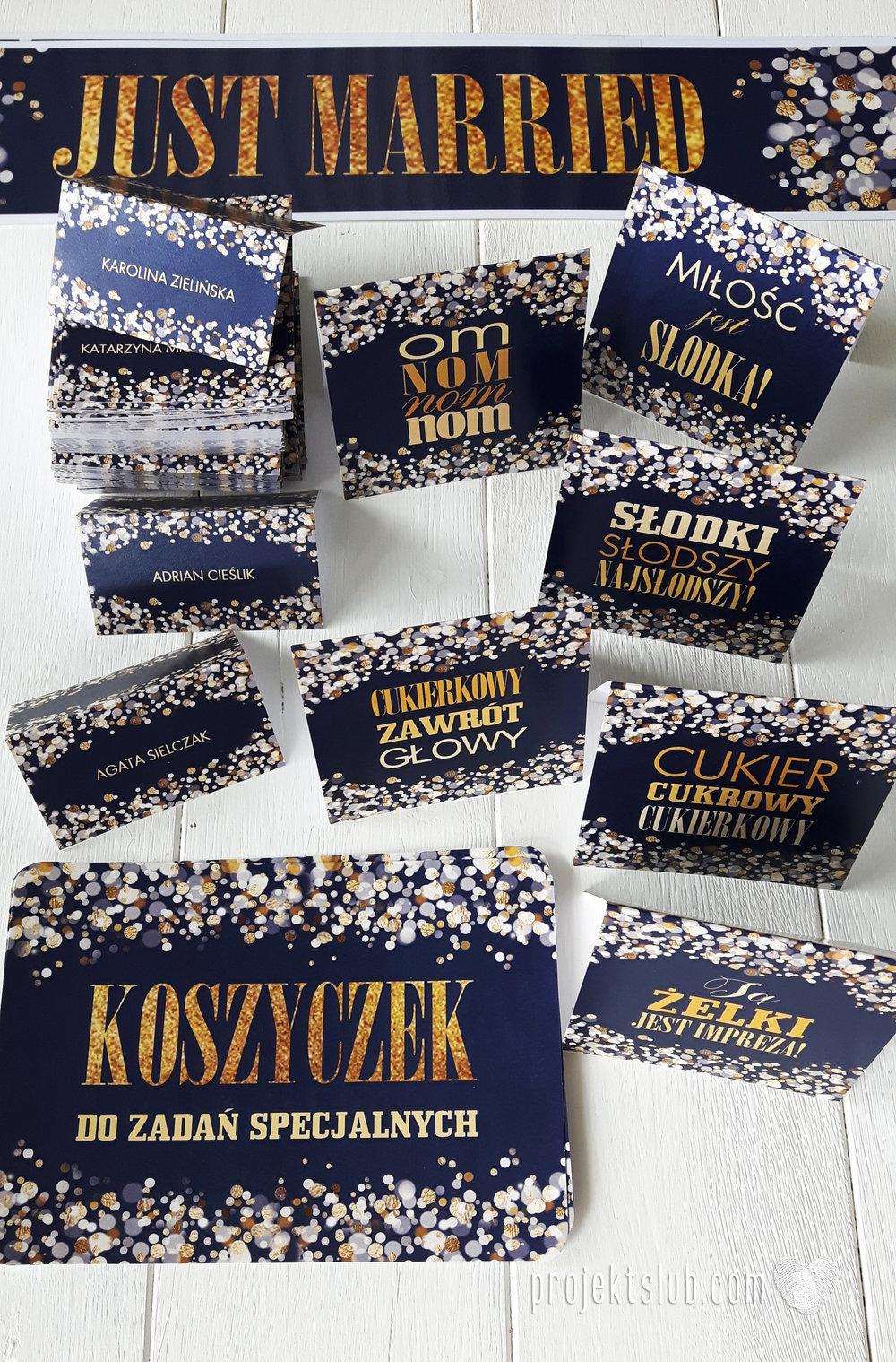 Zaproszenia na ślub i chrzciny projekt indywidualny granatowe elegancka papeteria harmonijka konfetti glamour Projekt Ślub (8).jpg