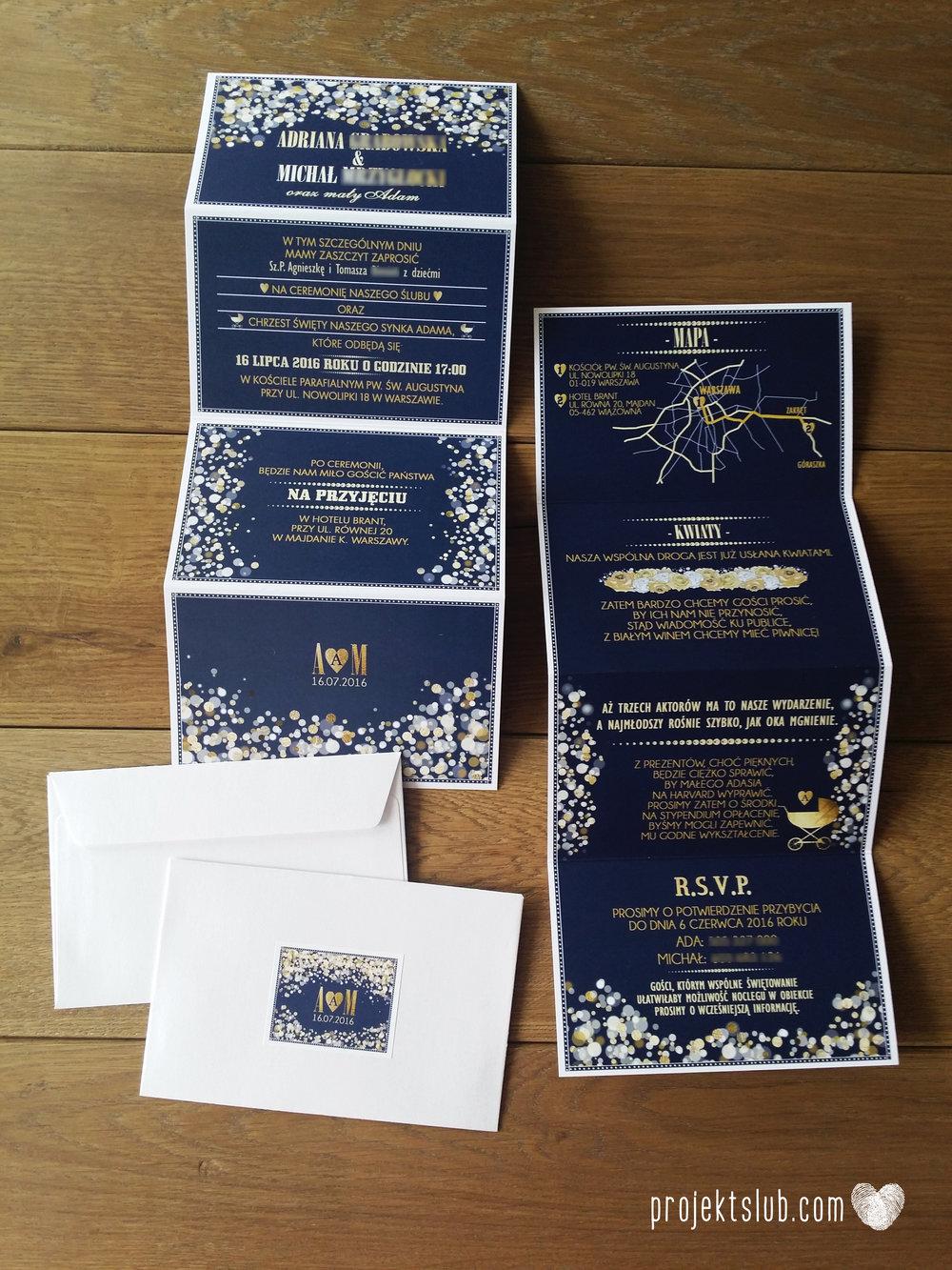 Zaproszenia na ślub i chrzciny projekt indywidualny granatowe elegancka papeteria harmonijka konfetti glamour Projekt Ślub (2).jpg