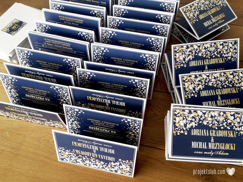 Zaproszenia na ślub i chrzciny projekt indywidualny granatowe elegancka papeteria harmonijka konfetti glamour Projekt Ślub (1).jpg
