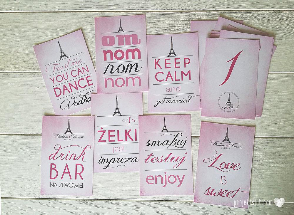 zaproszenia ślubne z kokardą eleganckie oryginalne nowoczesne rysunkowe pastelowe pudrowy róż wieża eiffel zakochani w paryżu zdjęcia  projekt ślub (5).jpg