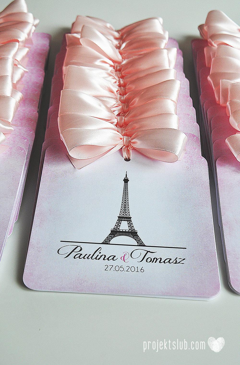 zaproszenia ślubne z kokardą eleganckie oryginalne nowoczesne rysunkowe pastelowe pudrowy róż wieża eiffel zakochani w paryżu zdjęcia  projekt ślub (8).jpg