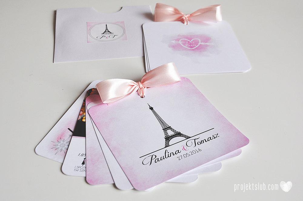 zaproszenia ślubne z kokardą eleganckie oryginalne nowoczesne rysunkowe pastelowe pudrowy róż wieża eiffel zakochani w paryżu zdjęcia  projekt ślub (15).jpg