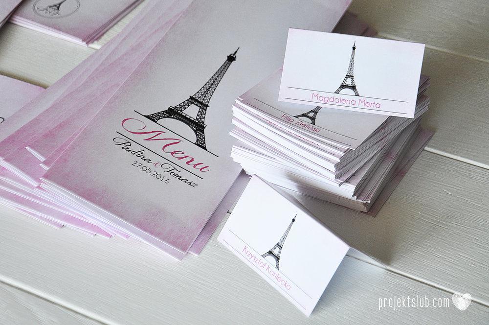 zaproszenia ślubne z kokardą eleganckie oryginalne nowoczesne rysunkowe pastelowe pudrowy róż wieża eiffel zakochani w paryżu zdjęcia  projekt ślub (16).jpg