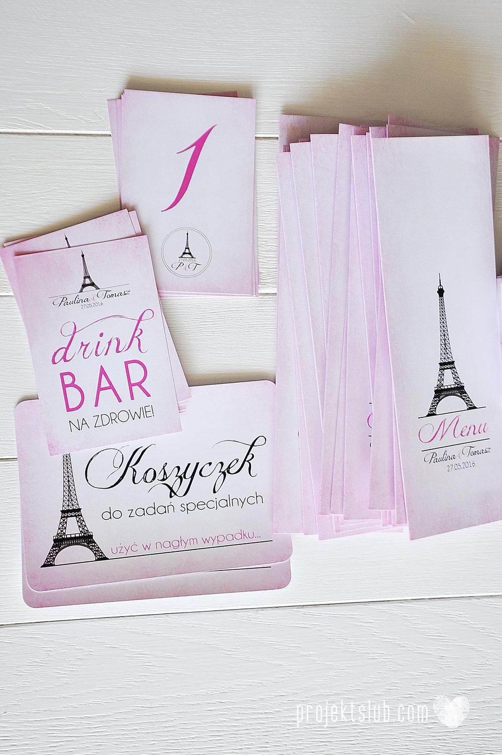 zaproszenia ślubne z kokardą eleganckie oryginalne nowoczesne rysunkowe pastelowe pudrowy róż wieża eiffel zakochani w paryżu zdjęcia  projekt ślub (17).jpg