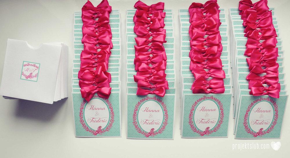 oryginalne zaproszenia ślubne najpiękniejsza papeteria miętowe love mięta malinowa wstążka elegancki projekt ślub (2).jpg