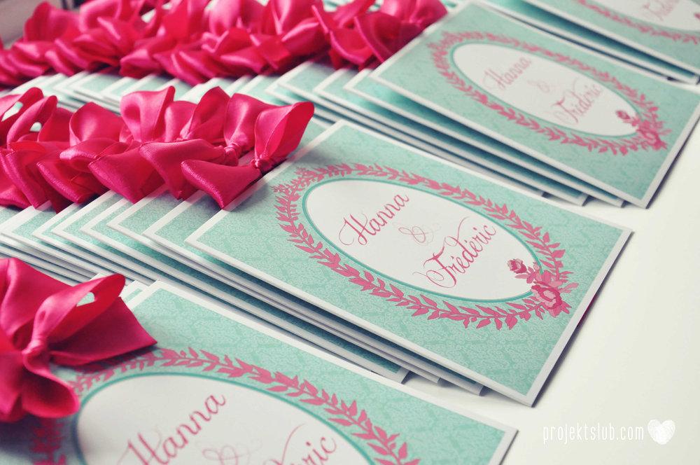 oryginalne zaproszenia ślubne najpiękniejsza papeteria miętowe love mięta malinowa wstążka elegancki projekt ślub (6).jpg