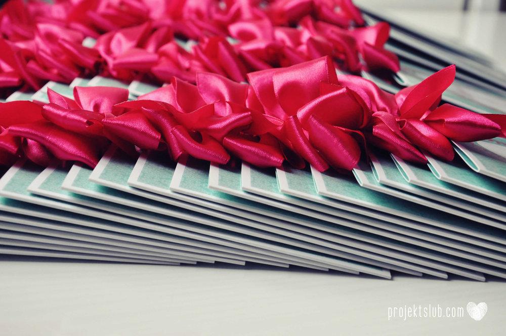oryginalne zaproszenia ślubne najpiękniejsza papeteria miętowe love mięta malinowa wstążka elegancki projekt ślub (10).jpg